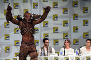 """(L-R) Actor John Duff, Tyler Hoechlin, Shelley Hennig and Dylan O'Brien attend MTV's """"Teen Wolf"""" panel during Comic-Con International 2014 at the San Diego Convention Center on July 24, 2014 in San Diego, California."""