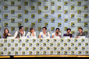 """(L-R) Actors Holland Roden, Tyler Hoechlin, Shelley Hennig, Dylan O'Brien, Tyler Posey, and Dylan Sprayberry, and writer/producer Jeff Davis attend MTV's """"Teen Wolf"""" panel during Comic-Con International 2014 at the San Diego Convention Center on July 24, 2014 in San Diego, California."""