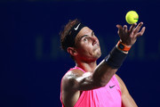 Rafael Nadal of Spain serves during the singles match against Taylor Fritz of the United States during Day 6 of the ATP Mexican Open at Princess Mundo Imperial on February 29, 2020 in Acapulco, Mexico.