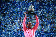 Rafael Nadal of Spain celebrates with the winner's trophy after winning the final singles match against Taylor Fritz of the United States during Day 6 of the ATP Mexican Open at Princess Mundo Imperial on February 29, 2020 in Acapulco, Mexico.