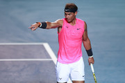 Rafael Nadal of Spain gestures during the singles match against Taylor Fritz of the United States during Day 6 of the ATP Mexican Open at Princess Mundo Imperial on February 29, 2020 in Acapulco, Mexico.