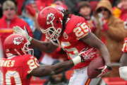 Jamaal Charles #25 of the Kansas City Chiefs celebrates with Thomas Jones #20 after scoring a touchdown during the game against the Tennessee Titans on December 26, 2010 at Arrowhead Stadium in Kansas City, Missouri.