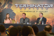 (L-R) Actors Emilia Clarke and Arnold Schwarzenegger and Director Alan Taylor attend the France Press Junket of 'Terminator Genisys' at the Hotel Four Season Georges V on June 19, 2015 in Paris, France.