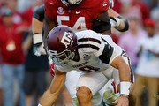 Trevor Knight #8 of the Texas A&M Aggies attempts to scoop up his own fumble against the Alabama Crimson Tide at Bryant-Denny Stadium on October 22, 2016 in Tuscaloosa, Alabama.