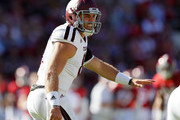 Trevor Knight #8 of the Texas A&M Aggies runs the offense against the Alabama Crimson Tide at Bryant-Denny Stadium on October 22, 2016 in Tuscaloosa, Alabama.