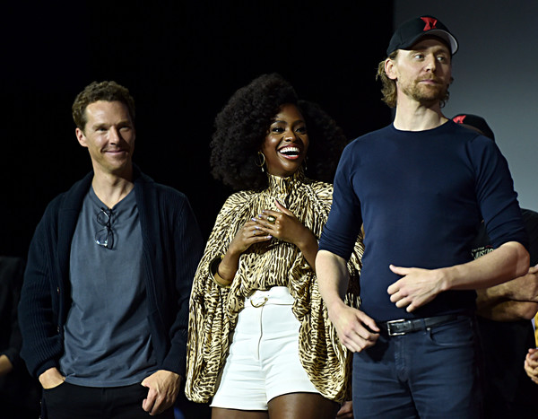 Marvel Studios Hall H Panel [people,fashion,performance,event,fun,human,photography,stage,performing arts,talent show,benedict cumberbatch,teyonah parris,tom hiddleston,l-r,hall h,san diego,california,marvel studios hall h panel,marvel studios panel,san diego comic-con international]