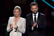 (L-R) Mikaela Shiffrin and Joel McHale speak onstage during The 2019 ESPYs at Microsoft Theater on July 10, 2019 in Los Angeles, California.