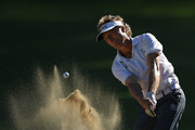 Bernhard Langer of Germany hits from a green side bunker on the 16th hole during the final round of the Ally Challenge presented by McLaren at Warwick Hills Golf & Country Club on September 16, 2018 in Grand Blanc, Michigan.