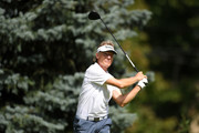 Bernhard Langer of Germany hits his tee shot on the second hole during the final round of the Ally Challenge presented by McLaren at Warwick Hills Golf & Country Club on September 16, 2018 in Grand Blanc, Michigan.