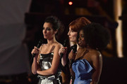 (EDITORIAL USE ONLY) (L-R)  Laura Jackson, Alice Levine and Clara Amfo present the award for Male Solo Artist on stage at The BRIT Awards 2017 at The O2 Arena on February 22, 2017 in London, England.