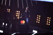 (EDITORIAL USE ONLY)  Michael C Hall collects the award for British Male Solo Artist on behalf of David Bowie on stage at The BRIT Awards 2017 at The O2 Arena on February 22, 2017 in London, England.