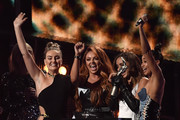 (EDITORIAL USE ONLY)  (L-R) Perrie Edwards, Jesy Nelson, Jade Thirlwall and Leigh-Anne Pinnock of Little Mix receive the award for Best British Single on stage at The BRIT Awards 2017 at The O2 Arena on February 22, 2017 in London, England.