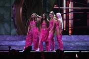 Jade Thirlwall, Leigh-Anne Pinnock, Perrie Edwards and Jesy Nelson of Little Mix perform on stage during The BRIT Awards 2019 held at The O2 Arena on February 20, 2019 in London, England.