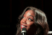 Estelle speaks onstage at The Drop: Estelle at The GRAMMY Museum on December 03, 2018 in Los Angeles, California.