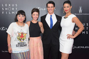 """(L-R)  Satsuki Okawa, Phoebe Neidhardt, Nick Ballard and Jessica Clark  attend the 2nd Annual Lexus Short Films """"Life is Amazing"""" New York premiere presented by The Weinstein Company and Lexus at SVA Theater on August 6, 2014 in New York City."""