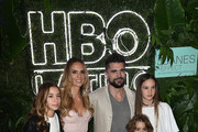 Juanes and his wife Karen Martinez pose with their children at the premiere of 'The Juanes Effect' at Faena Forum on May 18, 2017 in Miami Beach, Florida.