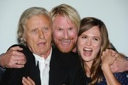 """Rutger Hauer, Rune Temte and Emily Cox attend a photocall for """"The Last Kingdom"""" at Charlotte Street Hotel on September 8, 2015 in London, England."""