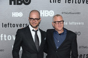 """Damon Lindelof and Tom Perrotta attend """"The Leftovers"""" premiere at NYU Skirball Center on June 23, 2014 in New York City."""