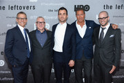 """(L-R) Michael Lombardo, Tom Perrotta, Justin Theroux, Richard Plepler and Damon Lindelof attend """"The Leftovers"""" premiere at NYU Skirball Center on June 23, 2014 in New York City."""