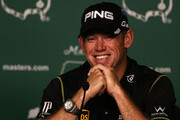 Lee Westwood of England speaks to the media during a practice round prior to the start of the 2012 Masters Tournament at Augusta National Golf Club on April 3, 2012 in Augusta, Georgia.