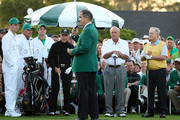 Augusta National Golf Club chairman William Porter Payne speaks on the first tee box as honorary starters (L-R) Gary Player of South Africa, Arnold Palmer and Jack Nicklaus look on during the start of first round of the 2012 Masters Tournament at Augusta National Golf Club on April 5, 2012 in Augusta, Georgia.