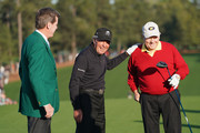 (L-R) Fred Ridley, Chairman of Augusta National Golf Club, and honorary starters Gary Player of South Africa and Jack Nicklaus of the United States laugh on the first tee during the opening tee ceremony to start the first round of the 2018 Masters Tournament at Augusta National Golf Club on April 5, 2018 in Augusta, Georgia.