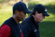 Tiger Woods and Phil Mickelson walk during The Match: Tiger vs Phil at Shadow Creek Golf Course on November 23, 2018 in Las Vegas, Nevada.