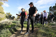 Phil Mickelson and Tiger Woods walk during The Match: Tiger vs Phil at Shadow Creek Golf Course on November 23, 2018 in Las Vegas, Nevada.