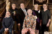 (L-R) Actors Bob Balaban, George Clooney, John Goodman, Bill Murray, Cate Blanchett and Matt Damon pose at a photo call for Sony Picture's 'The Monuments Men' at the Four Seasons Hotel on January 16, 2014 in Los Angeles, California.