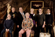 (L-R) Actors Bob Balaban, George Clooney, John Goodman, Bill Murray, Cate Blanchett, Matt Damon and producer Grant Heslov pose at a photo call for Sony Picture's 'The Monuments Men' at the Four Seasons Hotel on January 16, 2014 in Los Angeles, California.