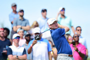Brandt Snedeker of the United States plays his shot from the eighth tee during the final round of The Northern Trust at Liberty National Golf Club on August 11, 2019 in Jersey City, New Jersey.