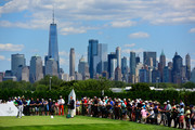 Brandt Snedeker of the United States plays his shot from the first tee during the final round of The Northern Trust at Liberty National Golf Club on August 11, 2019 in Jersey City, New Jersey.
