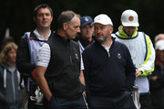 Damien McGrane and partner David Higgins of the Great Britain and Ireland PGA Cup team look on during the afternoon foursomes matches on day 1 of the 28th PGA Cup at Foxhills Golf Course on September 15, 2017 in Ottershaw, England.
