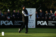David Higgins of the Great Britain and Ireland PGA Cup team tees off during the morning fourball matches on day 2 of the 28th PGA Cup at Foxhills Golf Course on September 16, 2017 in Ottershaw, England.