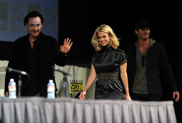 "Actress John Cusack, Alice Eve and Luke Evans speak at ""The Raven"" Panel during Comic-Con 2011 on July 22, 2011 in San Diego, California."