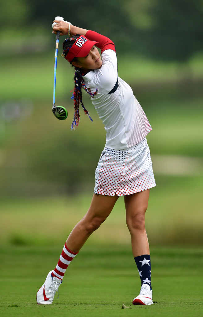 Michelle Wie hamming it up at Solheim Cup