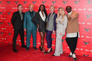 Olly Murs, Sir Tom Jones, Aj Odudu, Emma Willis, Meghan Trainor and Will.i.am attend The Voice UK 2019 photocall at The Soho Hotel on December 16, 2019 in London, England.