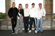 Robbie Williams, Ayda Field, host Dermot O'Leary, Louis Tomlinson and Simon Cowell pose during The X Factor 2018 launch at Somerset House on July 17, 2018 in London, England.