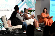 theCURVYcon co-founder Cece Olisa, Gabourey Sidibe, and theCURVYcon co-founder Chastity Garner Valentine speak onstage during theCURVYcon Powered By Dia&Co on September 8, 2018 in New York City.