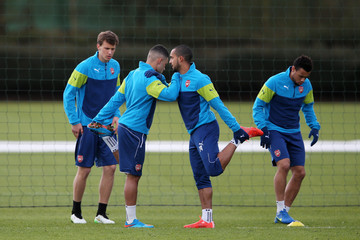 Theo Walcott Alex Oxlade-Chamberlain Arsenal Training Session and Press Conference