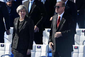 Theresa May Leaders Meet for NATO Summit
