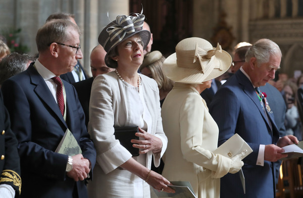 British Royal Legion Holds D-Day 75th Anniversary Ceremonies In Normandy [lady,event,uniform,ceremony,gesture,theresa may,charles,philip may,service,commemorations,normandy,bayeux cathedral,british royal legion holds,d-day,ceremonies]