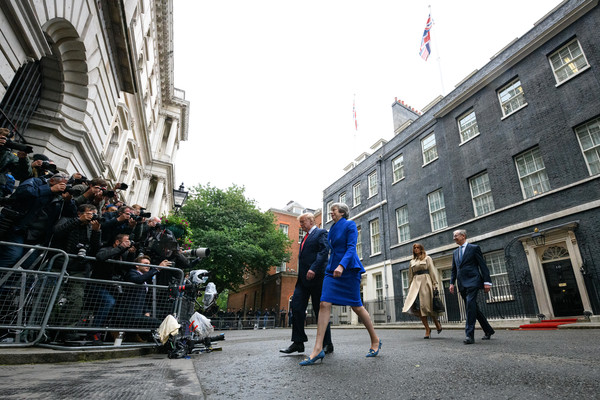 US President Trump's State Visit To UK - Day Two [pedestrian,street,urban area,infrastructure,city,tourism,architecture,road,walking,photography,donald trump,theresa may,melania trump,philip may,president,us,10 downing street,state visit to uk,business meetings,state visit]