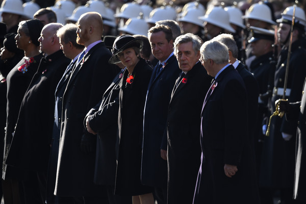 Remembrance Sunday Cenotaph Service [armistice,event,military,uniform,military officer,marching,crowd,official,military rank,funeral,gesture,prime ministers,theresa may,gordon brown,david cameron,l-r,part,cenotaph service,the cenotaph,memorial]