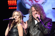 Sheryl Crow (L) and Robert Plant perform onstage during the Third Annual Love Rocks NYC Benefit Concert for God's Love We Deliver on March 07, 2019 in New York City.