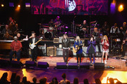 (L-R) Taj Mahal, Jimmie Vaughan,  Robert Plant, Nancy Wilson, Ann Wilson, and Grace Potter perform onstage during the Third Annual Love Rocks NYC Benefit Concert for God's Love We Deliver on March 07, 2019 in New York City.