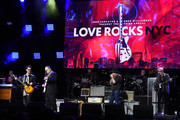 (L-R) Doyle Bramhall II, Jimmie Vaughan, Danny Clinch and Will Lee perform onstage during the Third Annual Love Rocks NYC Benefit Concert for God's Love We Deliver on March 07, 2019 in New York City.