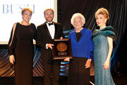 (L-R) President & CEO U.S. Fund for UNICEF Caryl Stern, presenter & NextGen After Party Co-Chair Pierce Bush, honoree Barbara Bush and presenter Mragaret Alkek Williams onstage at the UNICEF Audrey Hepburn Society Ball honoring former first lady Barbara Bush at the Hilton Americas Hotel on November 6, 2015 in Houston, Texas.