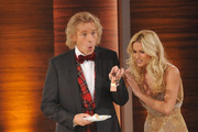 "Hosts Thomas Gottschalk and Michelle Hunziker attend the 199th ""Wetten dass...?"" show at the Rothaus Hall on December 3, 2011 in Friedrichshafen, Germany. After 24 years host Thomas Gottschalk terminates today his career as ""Wetten dass...?"" moderator."