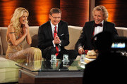 "(L-R) Michelle Hunziker, tv host Guenther Jauch and Thomas Gottschalk talk during the 199th ""Wetten dass...?"" show at the Rothaus Hall on December 3, 2011 in Friedrichshafen, Germany. After 24 years host Thomas Gottschalk terminates today his career as ""Wetten dass...?"" moderator."